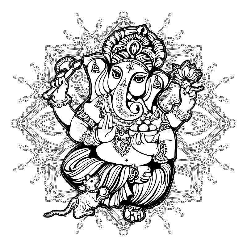 Libro De Colorear De Ganesha Para Los Adultos Stock de ilustración ...