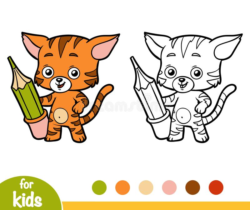 Libro De Colorear, Gato Con Un Lápiz Ilustración del Vector ...