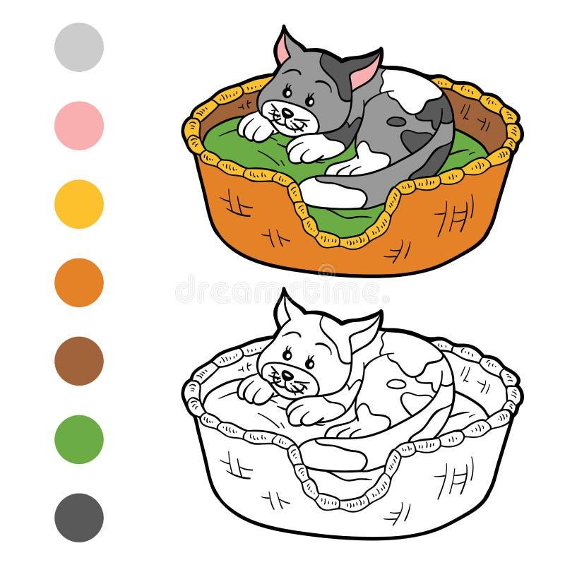 Libro de colorear (gato en una cesta en una almohada) stock de ilustración