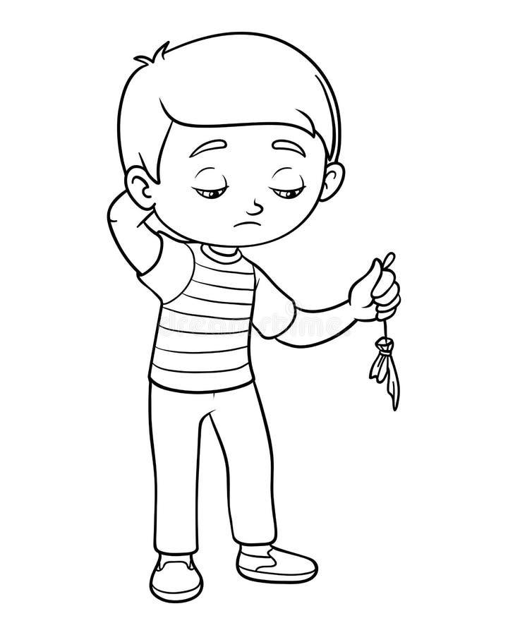 Libro de colorear, globo triste de la explosión del control del muchacho stock de ilustración