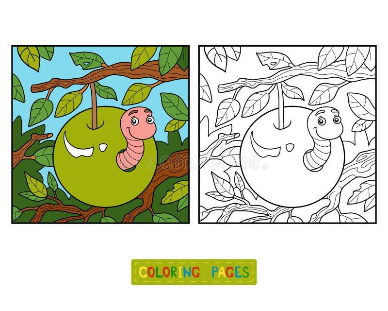 Libro de colorear, gusano en manzana libre illustration