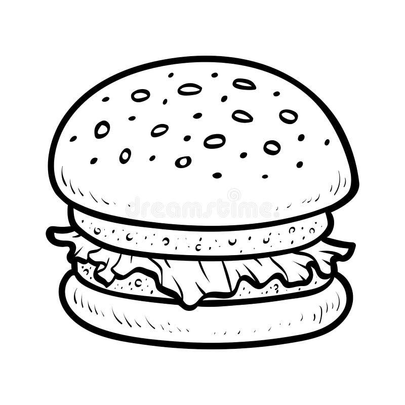 Libro de colorear, hamburguesa stock de ilustración