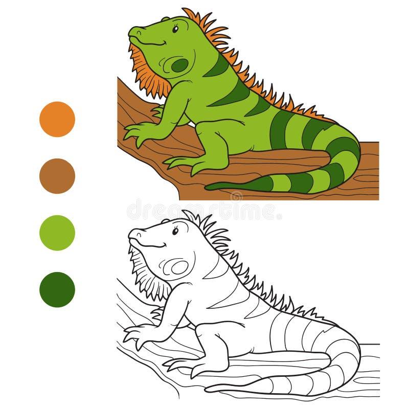 Libro de colorear (iguana) ilustración del vector. Ilustración de ...