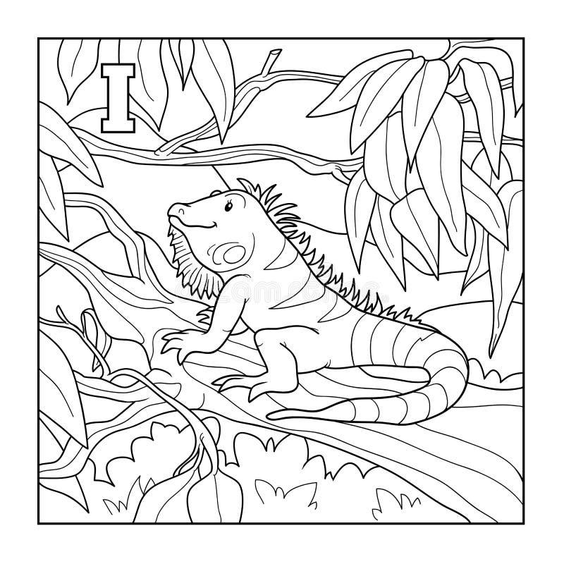 Libro De Colorear (iguana), Ejemplo Descolorido (letra I ...