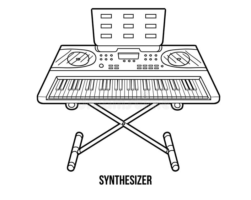 Libro De Colorear: Instrumentos Musicales (sintetizador) Ilustración ...