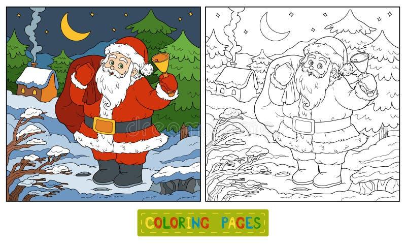 Libro De Colorear, Juego Para Los Niños: Santa Claus Ilustración del ...
