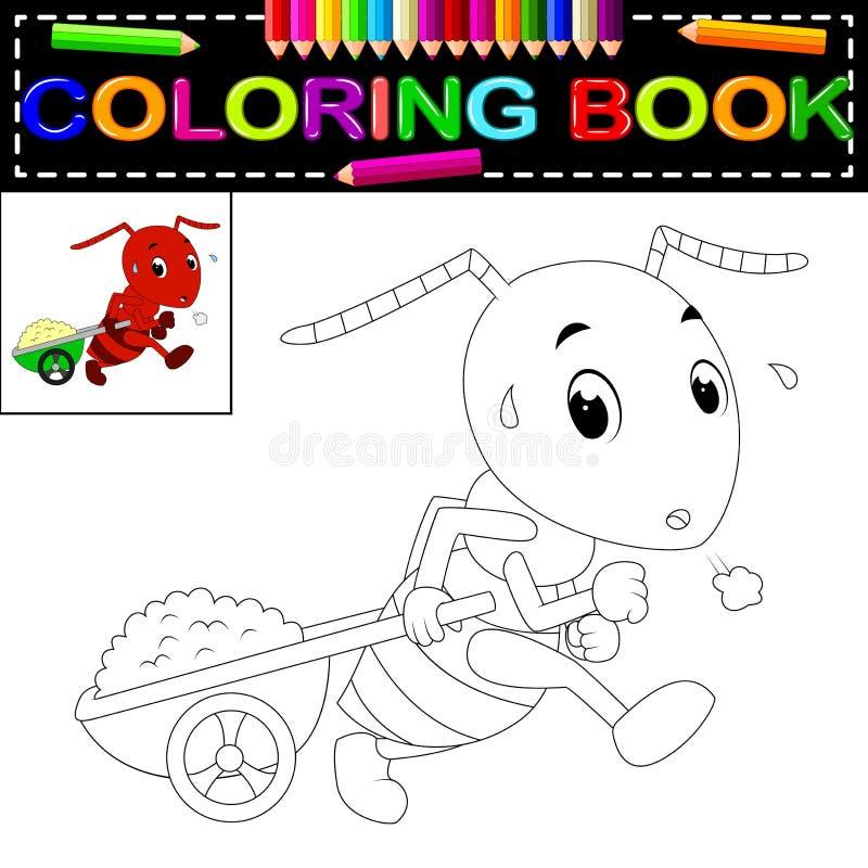Libro de colorear de la hormiga stock de ilustración