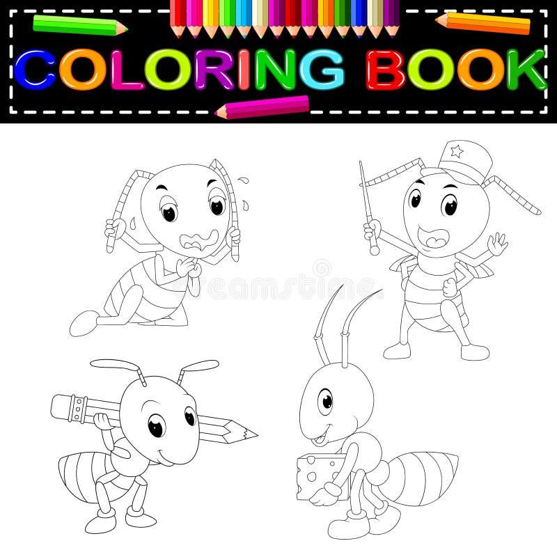 Libro de colorear de la hormiga ilustración del vector