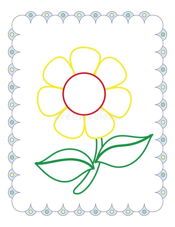 Libro de colorear de la manzanilla de amarillo linda de la flor ilustración del vector