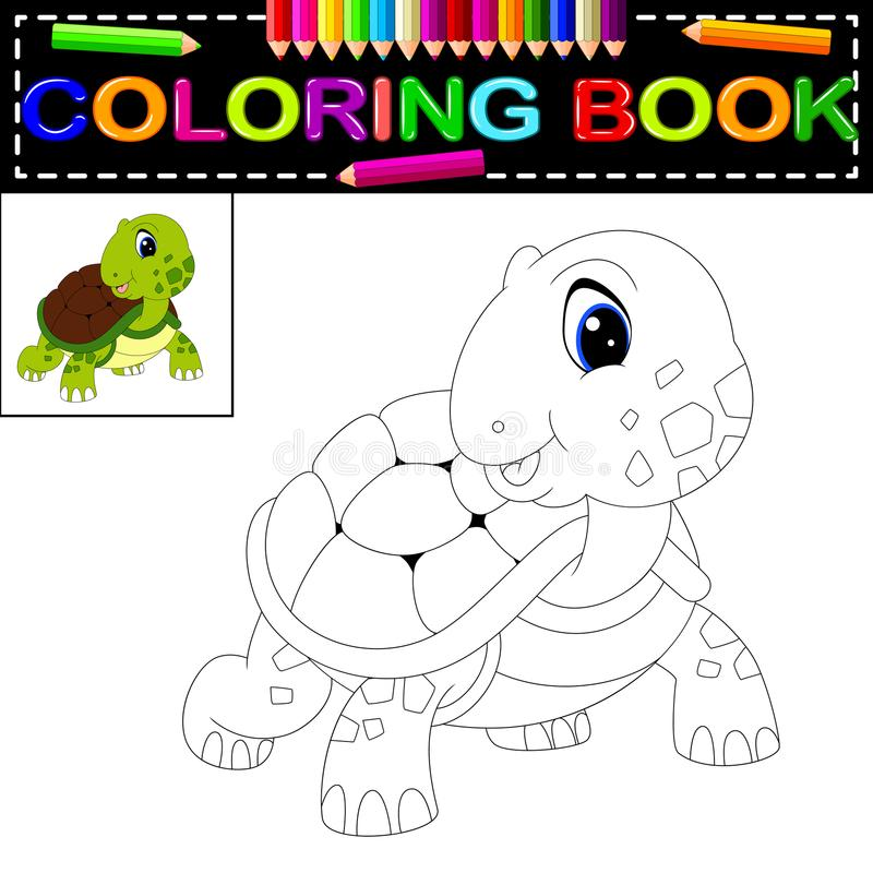 Libro de colorear de la tortuga libre illustration