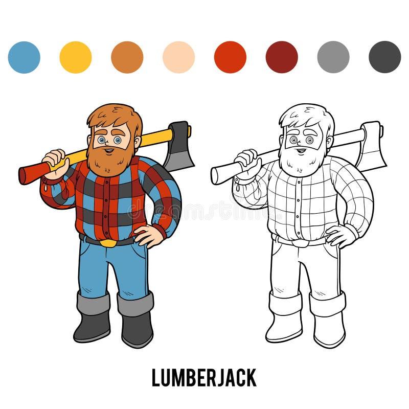 Libro de colorear, leñador ilustración del vector. Ilustración de ...