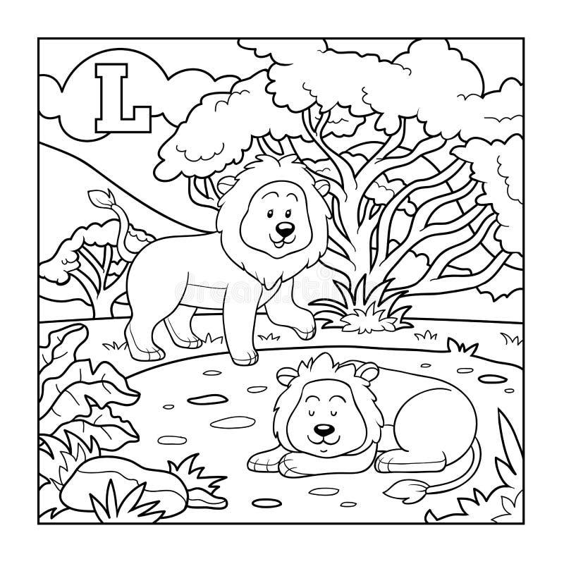 Libro de colorear (león), alfabeto descolorido para los niños: letra L stock de ilustración