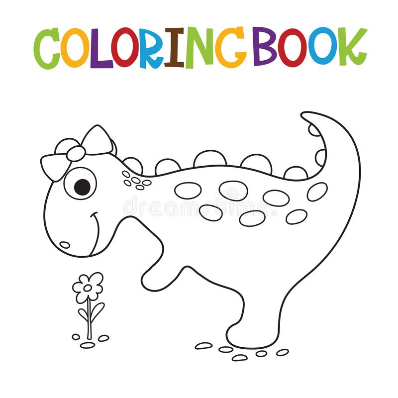 Libro de colorear lindo de Dino stock de ilustración