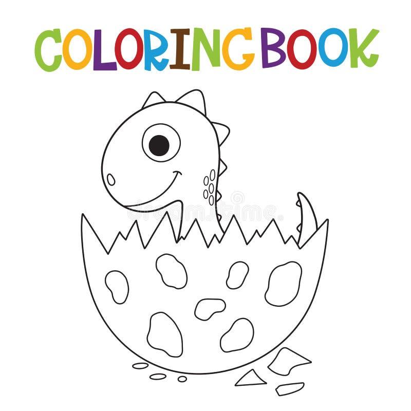 Libro de colorear lindo de Dino ilustración del vector