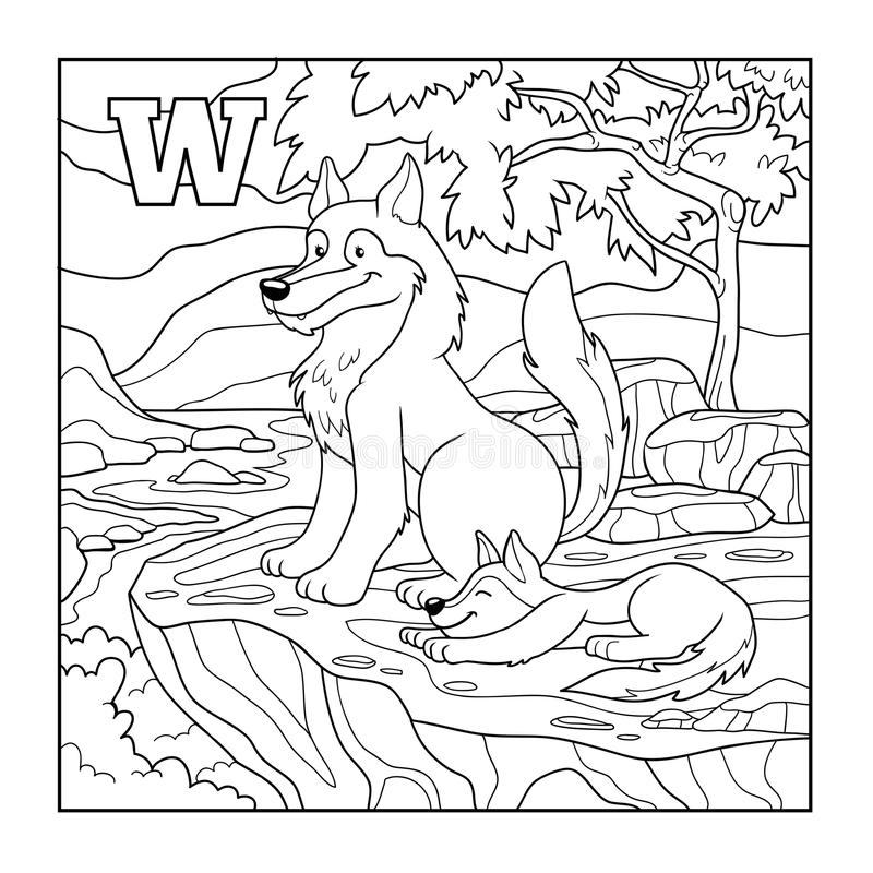 Libro de colorear (lobo), ejemplo descolorido (letra W) ilustración del vector