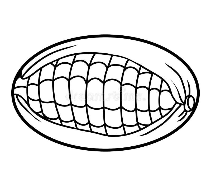 Libro de colorear, maíz ilustración del vector