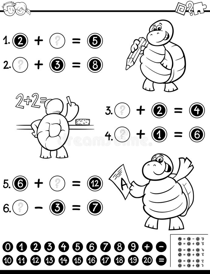 Libro De Colorear Matemático De La Hoja De Trabajo Ilustración del ...