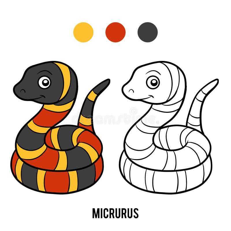 Libro de colorear, Micrurus stock de ilustración