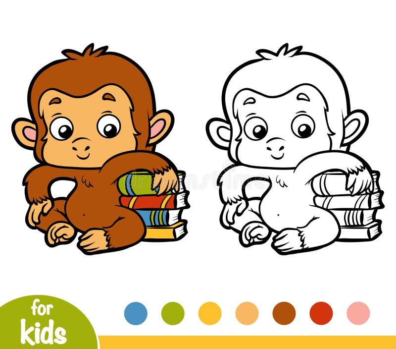 Libro de colorear, mono y libros ilustración del vector