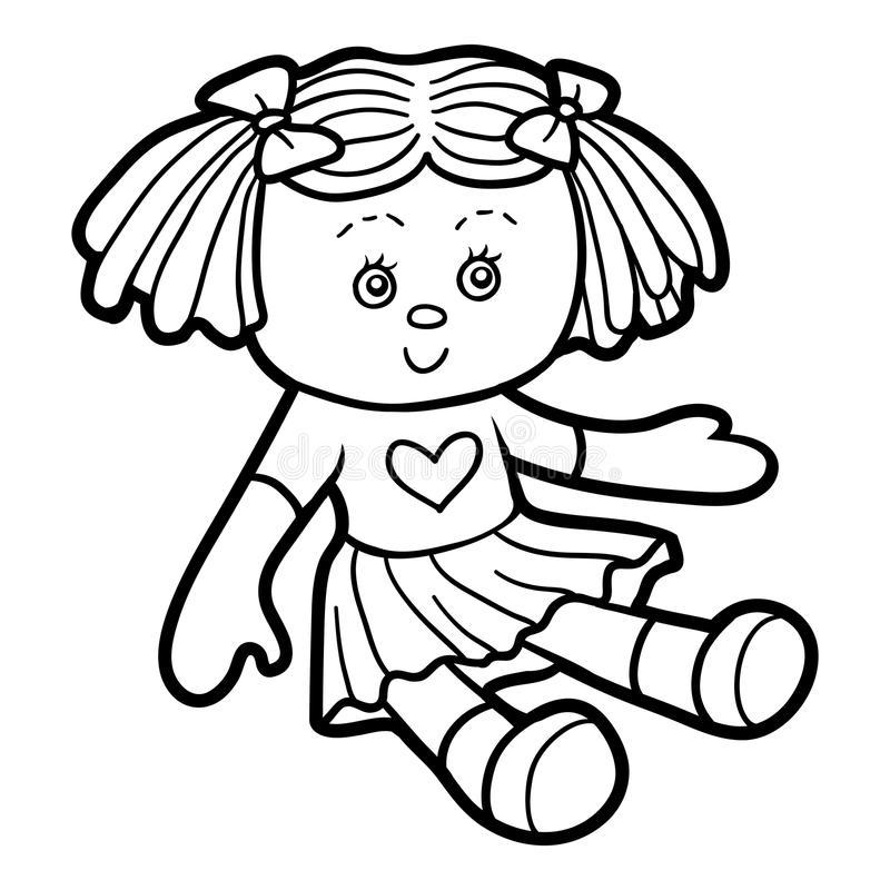 Libro de colorear, muñeca libre illustration