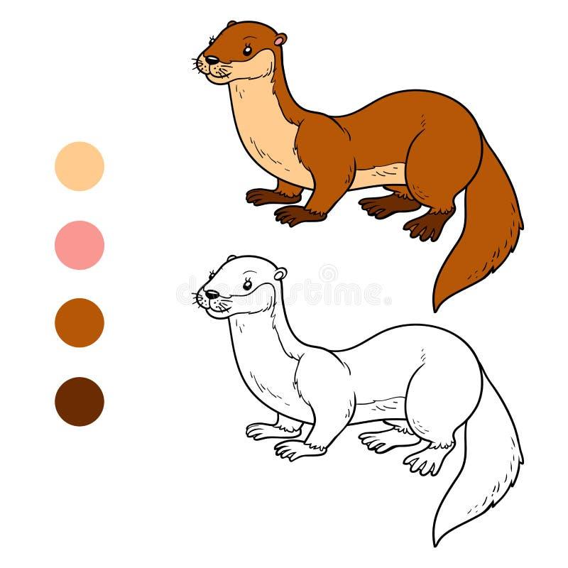 Libro de colorear (nutria) ilustración del vector. Ilustración de ...