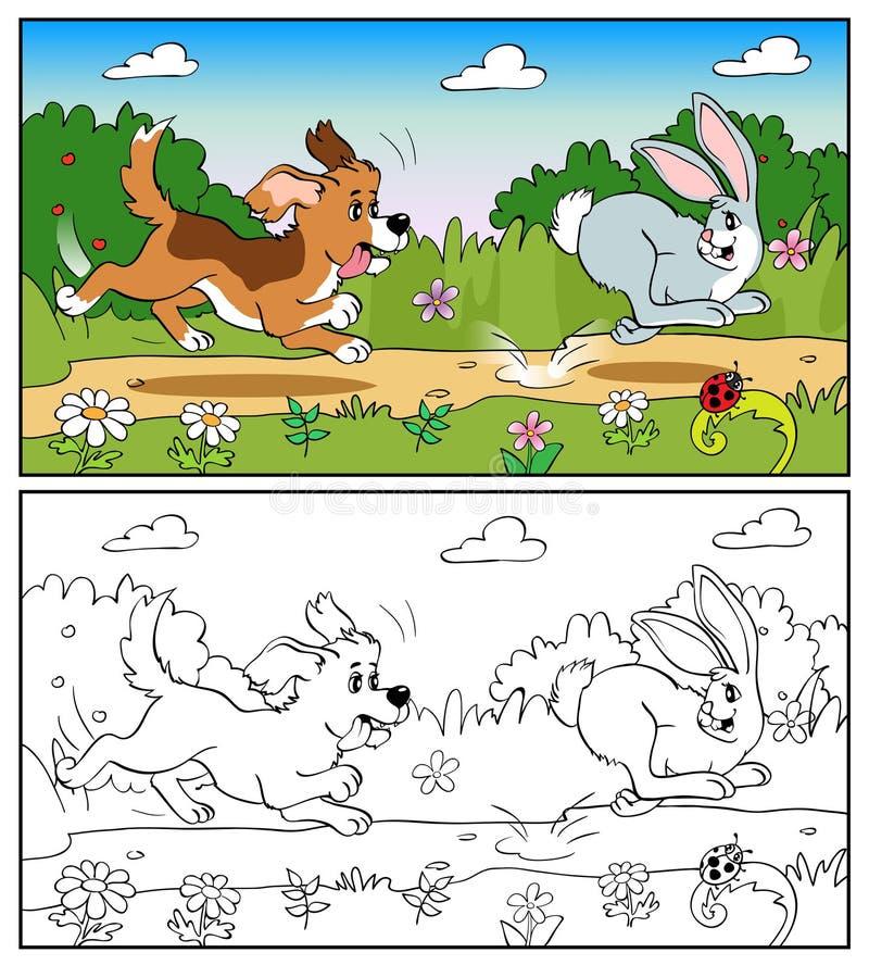 Libro de colorear o página Perro en el prado que persigue un conejo ilustración del vector