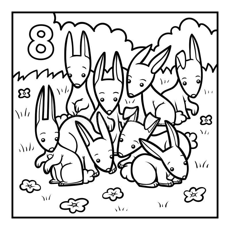 Libro de colorear, ocho conejos ilustración del vector