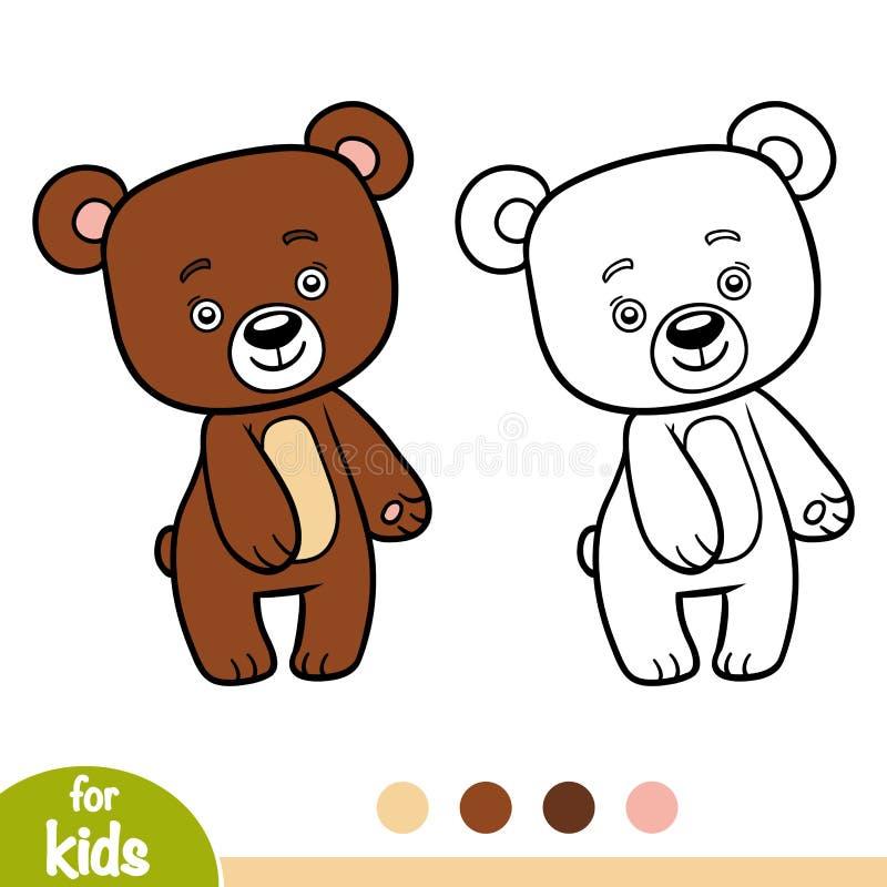 Libro de colorear, oso ilustración del vector