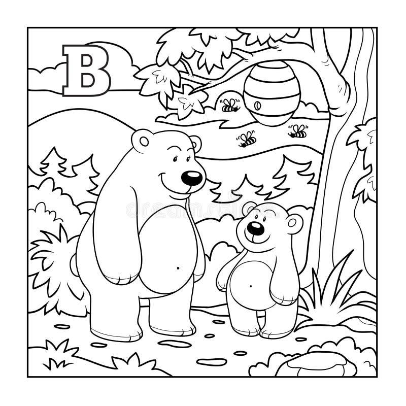 Libro de colorear (osos en el bosque), letra descolorida B ilustración del vector