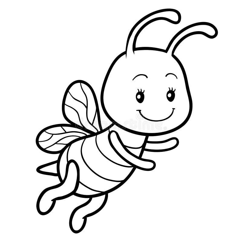 Libro de colorear, página que colorea con una pequeña abeja libre illustration