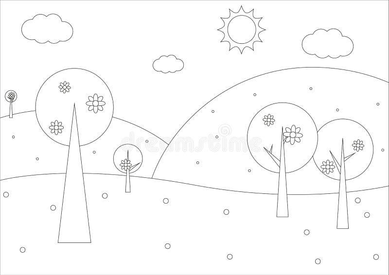 Libro de colorear - paisaje geométrico de la primavera simple libre illustration