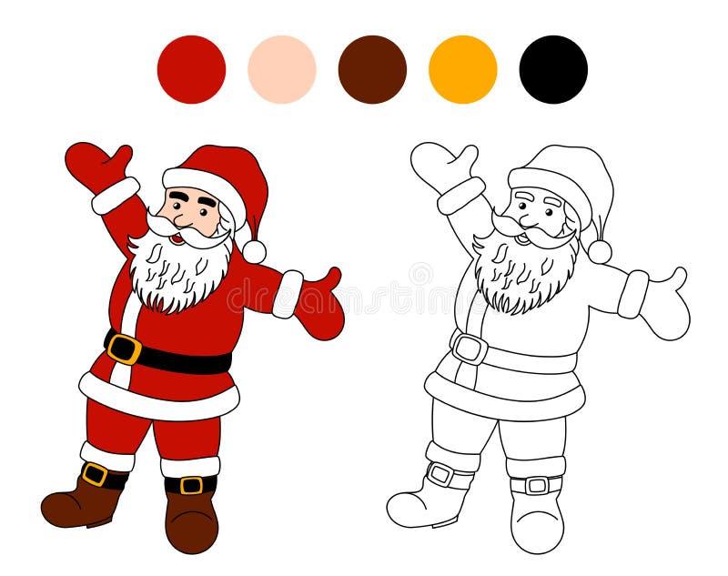 Libro de colorear: Papá Noel Tema de la Navidad para los niños stock de ilustración