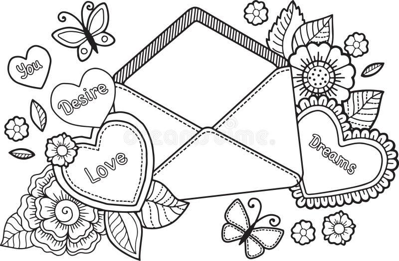 Libro De Colorear Para El Adulto Te Amo Rose Roja Ilustración del ...