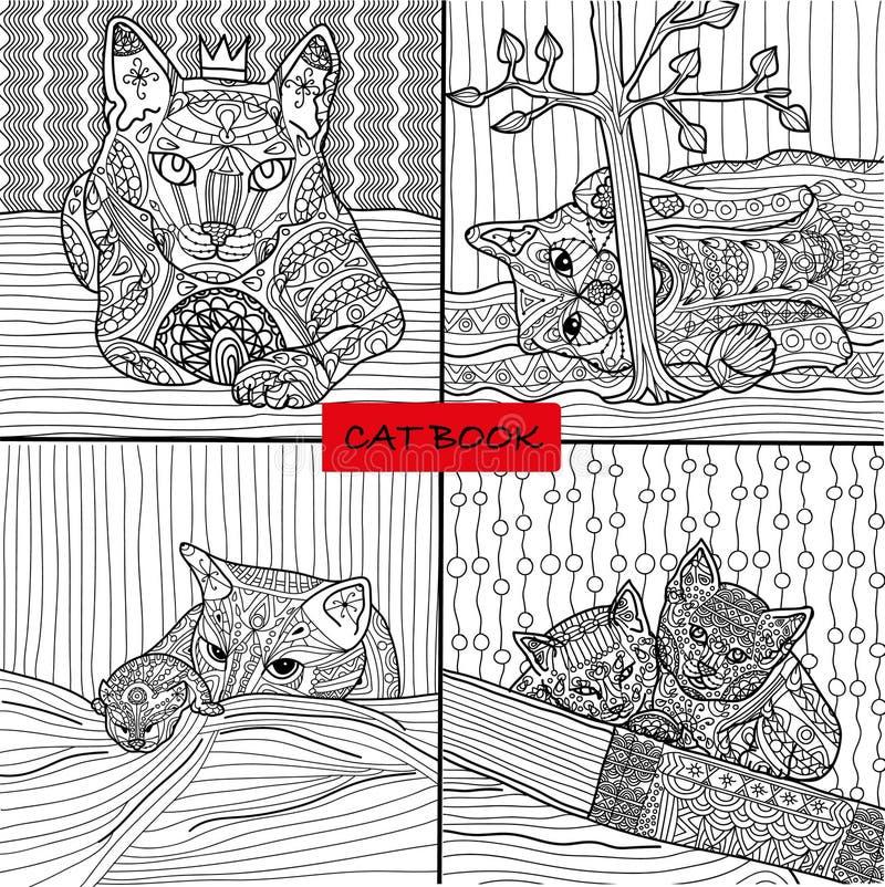 Libro de colorear para los adultos - sistema 2 de cuatro dibujos que colorean las páginas del gato para los adultos y los niños,  libre illustration