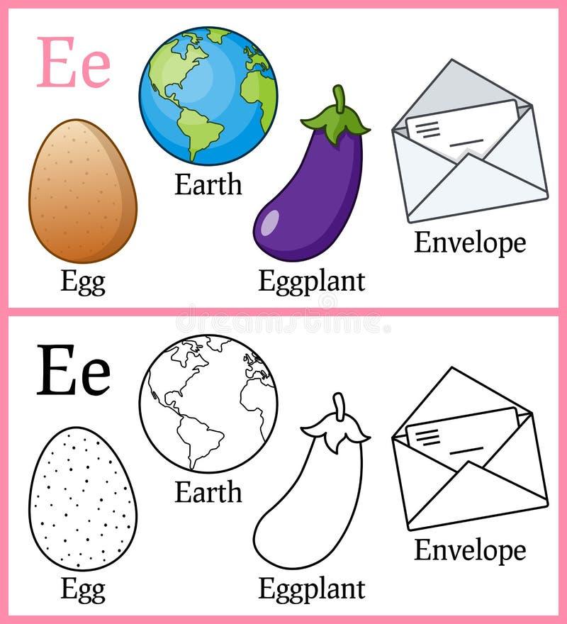 Libro de colorear para los niños - alfabeto E stock de ilustración