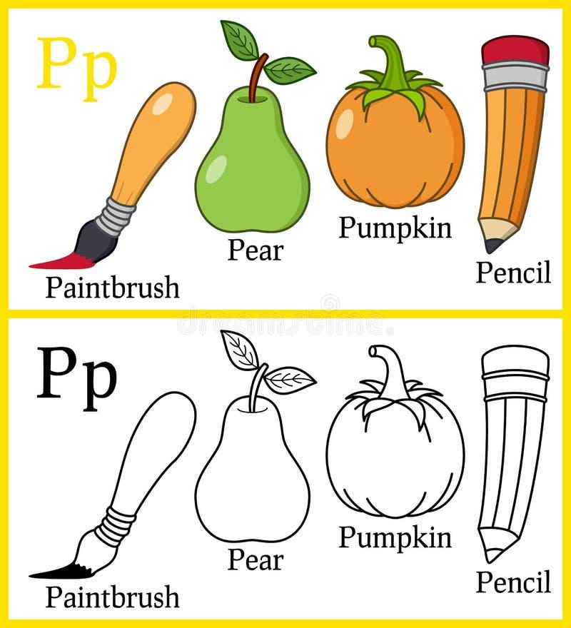 Libro de colorear para los niños - alfabeto P libre illustration