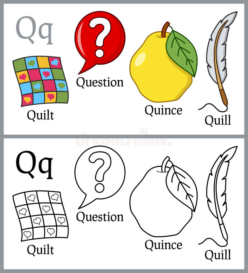 Libro de colorear para los niños - alfabeto Q libre illustration