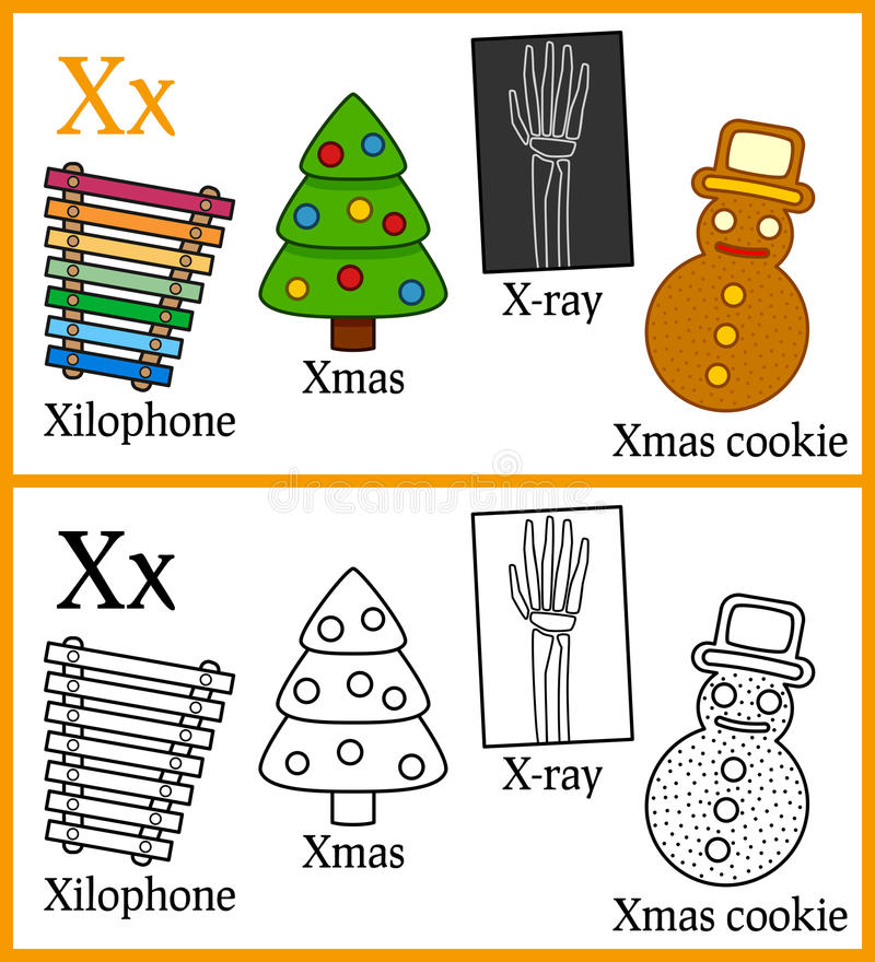 Libro de colorear para los niños - alfabeto X stock de ilustración