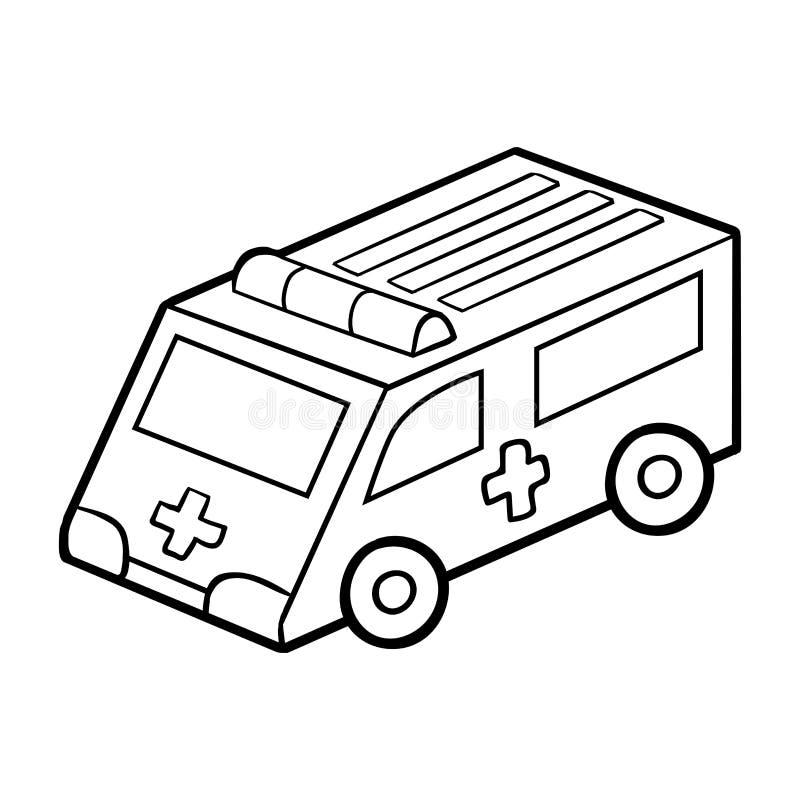 Libro de colorear para los niños Coche de la ambulancia ilustración del vector