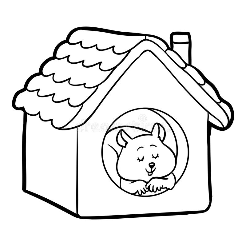 Libro de colorear para los niños: hámster y casa stock de ilustración