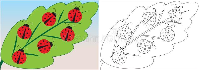Libro de colorear para los niños Historieta de las mariquitas en la hoja ilustración del vector