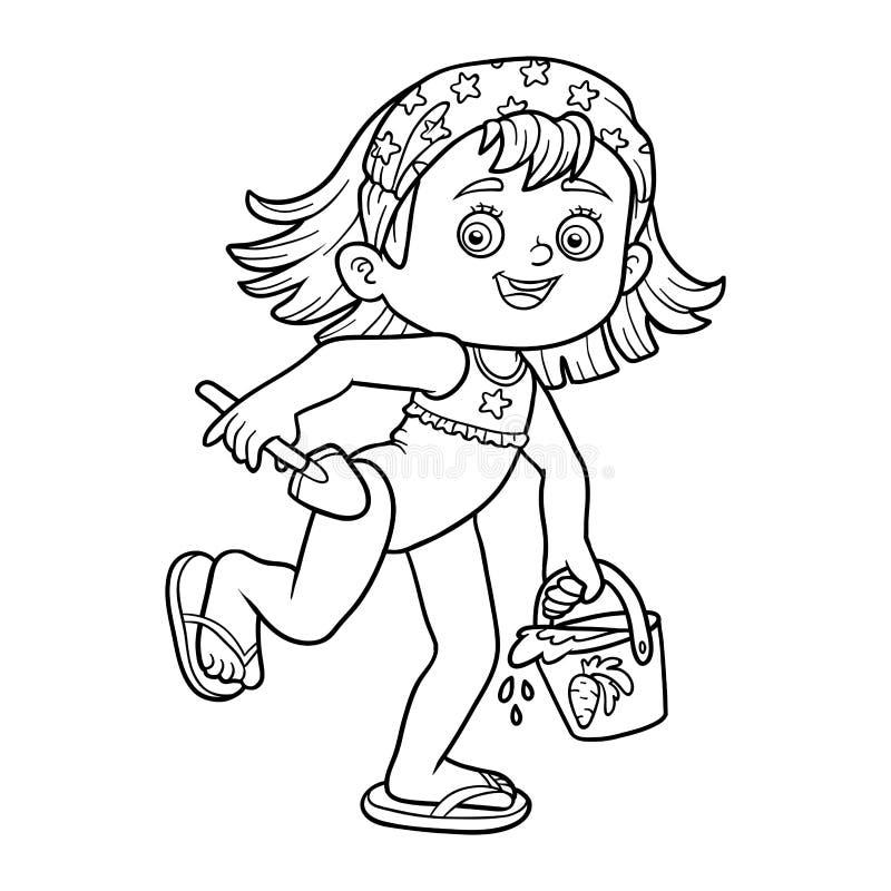 Libro De Colorear Para Los Niños Niña En La Playa Ilustración del ...