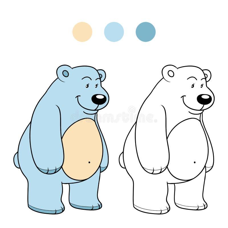 Libro De Colorear Para Los Niños (oso Polar) Ilustración del Vector ...