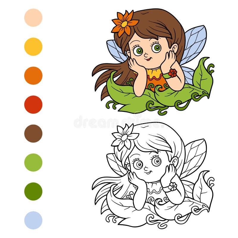 Libro de colorear para los niños: pequeña hada ilustración del vector