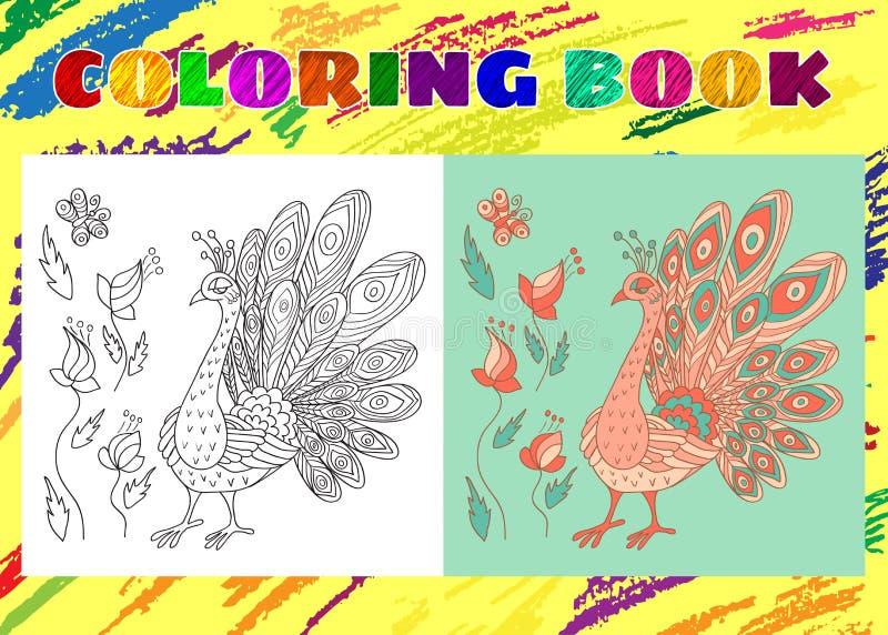 Libro de colorear para los niños Pequeño pavo real rosado incompleto con las flores stock de ilustración