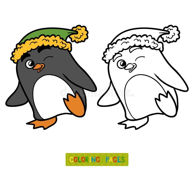 Libro De Colorear Para Los Niños, Pingüino Ilustración del Vector ...
