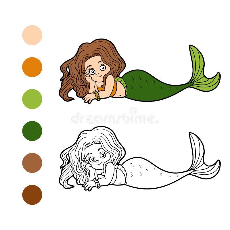 Libro De Colorear Para Los Niños (sirena De La Niña) Ilustración del ...