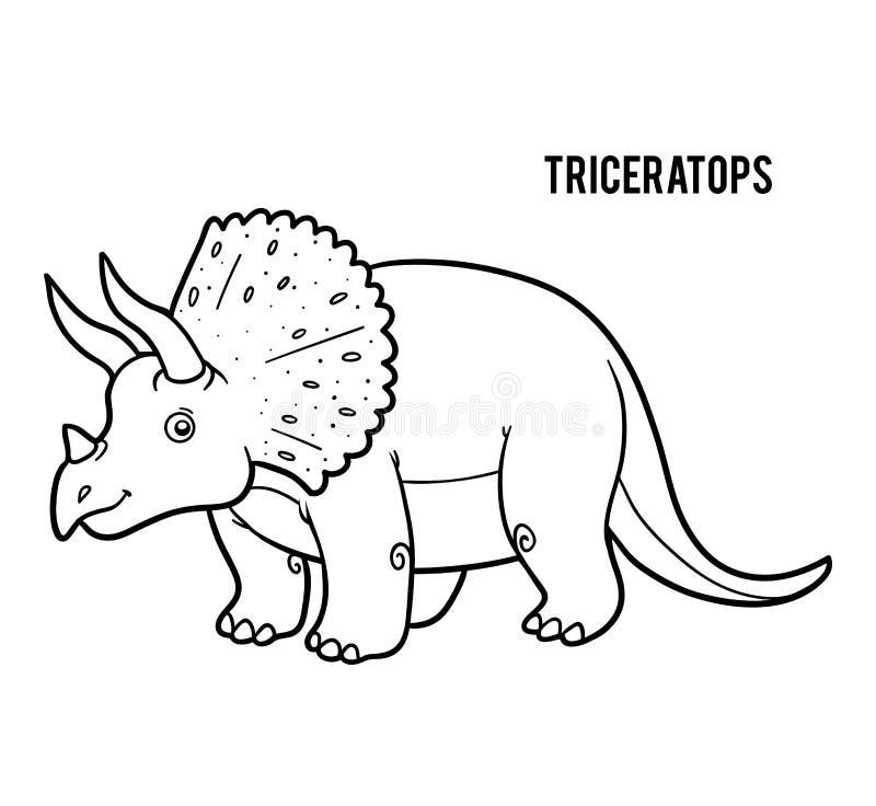 Libro de colorear para los niños, Triceratops de la historieta stock de ilustración