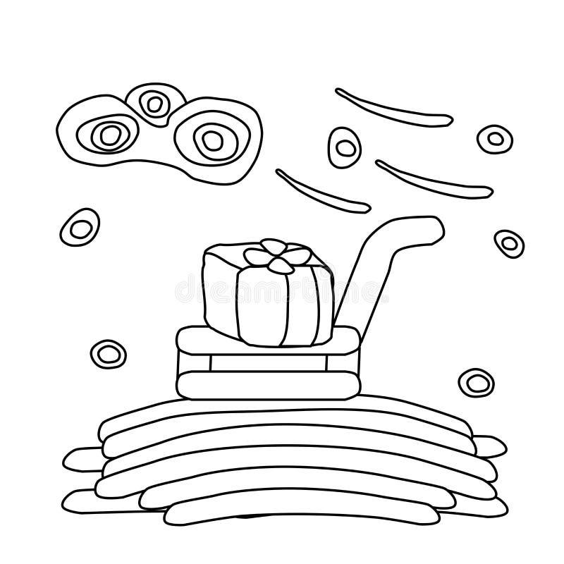 Libro de colorear para los ni?os Trineo del invierno con un regalo de Navidad Tarea creativa para el niño Ejemplo blanco, vector ilustración del vector