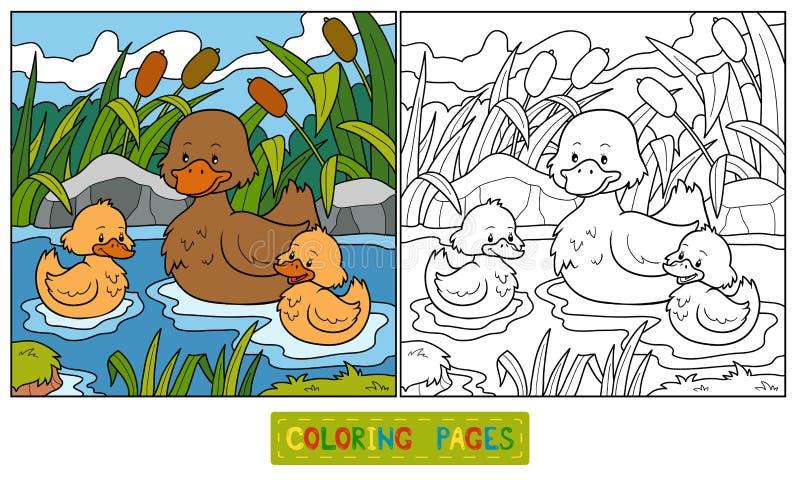 Libro de colorear (pato) stock de ilustración